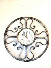 Horloge murale à quartz fer forgé rond à sunburst
