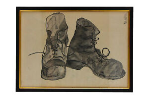1950's Still Life Ink Drawing of a pair of Boots Anna Latham 1959 Framed