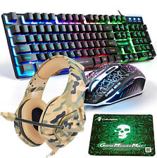 4in1 Combo Usb Wired Rainbow Gaming Keyboard Mouse + Headset + Pad For PS4 Xbox