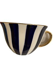 Signature Stripe Blue With Gold Stoneware Soup Coffee Cappuccino Mug Cup -new