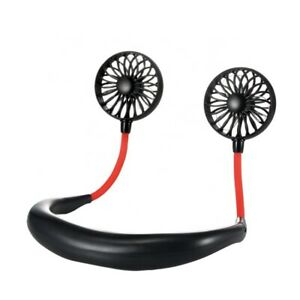 Portable USB Rechargeable Neckband LED Light Dual Cooling Fan