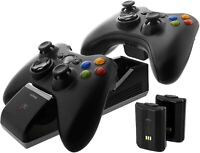 Xbox 360 Wireless Controller Charger Dock Dual Port w 2 Rechargeable Batteries