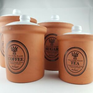 Finest Quality Terracotta Crock 4 Canister set White Glazed Lining Lid Portugal