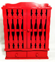 Vintage spice rack. Curio cabinet. Farmhouse. RED.  Wood w/ doors and 2 drawers.