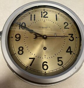 VINTAGE Chelsea Clock Co Boston Ships Navy 24 HOUR CLOCK Works Great!