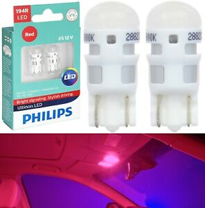 Philips Ultinon LED Light 194 Red Two Bulbs Interior Dome Replace Upgrade Stock