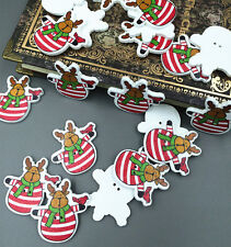 40X Reindeer Christmas Santa Claus Wooden buttons Sewing embellishment 35mm
