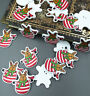 REINDEER SANTA/FATHER CHRISTMAS PAINTED WOOD BUTTONS Sewing embellishment 35mm