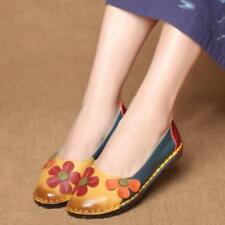 Women Fashion Loafers Retro Colorful Flower Flats Manual Soft Sole Slip On Shoes