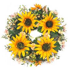 "19"" Artificial Sunflower Wreath Ratton Yellow Flower Wreath For Door Wall Decor"