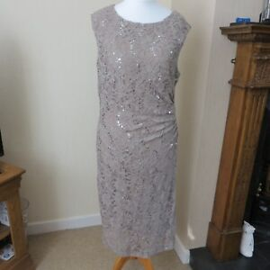 R & M Richards, Coffee Lace/sequin dress size 14 Immaculate