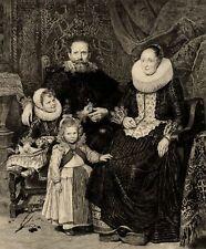 Cornélis de Vos Portrait de famille Gravure ancienne Jules Payrau XIXe