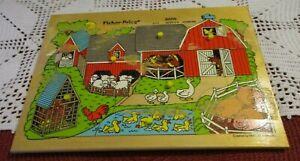 Vintage Fisher-Price 10 Piece Pick Up & Peak Wooden Puzzle #2711, 1971-1982 Barn