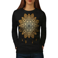 Wellcoda Mandala Yoga Womens Long Sleeve T-shirt, Spiritual Casual Design