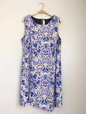 T-BAGS Los Angeles Plus Scoop Neck Sleeveless Printed Assymetric Dress Purple 1X