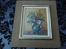 MARIE SISTRIER : bouquet de fleurs - huile s/toile encadrée.