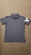 YOHJI YAMAMOTO Y-3 Men's Solid Blue Polo-Rugby Cotton 3 Button Front Shirt Sz_L