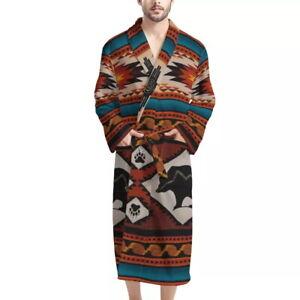 Tribal Stytle Fashion Mens Robe Washable Sleepwear Absorbent Clothes Spa Kimono