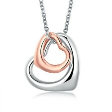 Platinum Rose Gold Plated Necklace  Women's Pendant Heart  Lobster Clasp B114