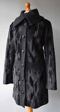 Ladies Per Una Black Faux Fur & Boucle Coat Size UK 18