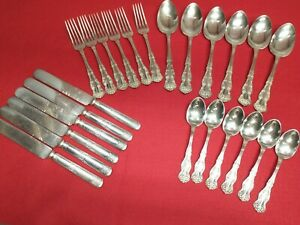 Rare Set Of 24 Wm Rogers & Sons Silverplate 1900 Chester Spoons Forks Knives