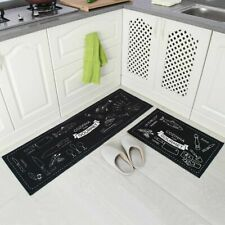 Non-Slip Kitchen Floor Mat Rubber Backing Doormat Runner Rug 2 Piece Set
