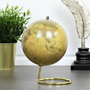 Gold Travel World Map Rotating Globe Home Office Study Ornament Desk Decoration