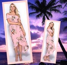FLORAL Bardot Dip Hem Dress Summer Holidays Wedding Summer Dress 6 8
