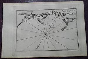 """1780 Roux Meucci: Portolano Mappa Porto di Trieste """"Plan du Port de Trieste"""""""