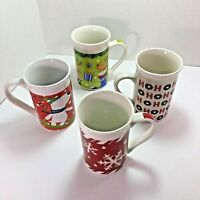 Vintage Royal Norfolk Christmas Coffee Mugs, Set Of 4,1 Being a SNOWBOARDING DOG