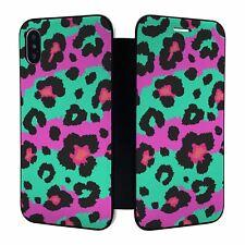iPhone X XS Full Flip Wallet Case Cover Purple Leopard - S1324