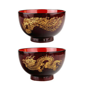 2x Wood Dinner Bowls Soup Bowl Dish Retro Chinese Dragon Phoenix Pattern