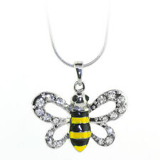 "Stunning Bumble Bee Pendant with White Crystals and16"" Snake Chain"
