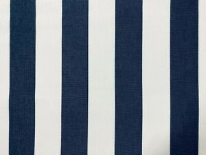 Navy & White Stripe DRALON Outdoor Teflon Upholstery Curtain Fabric 160cm Wide