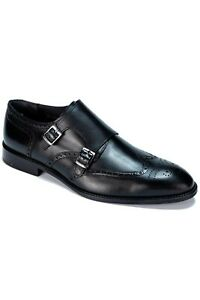 Jack Martin - Handmade - Black Genuine Leather Double Monk Strap Shoes