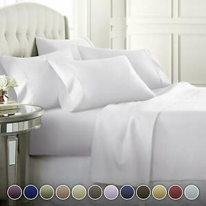 100% Cotton 300TC Solid White Flat & Fitted Sheet with 2 Pillow Covers(4 pc set)
