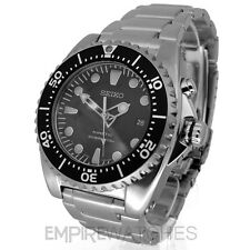 *NEW* SEIKO KINETIC DIVERS 200M BLACK STEEL WATCH - SKA371P1 - RRP £325