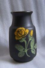 MID CENTURY W. GERMANY ART POTTERY VASE FLAT BLACK w YELLOW ROSE CUTE!