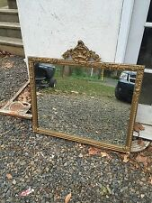 Large Rococo Style Antique Mirror Hand Carved Gilt 4' By 2' As Found