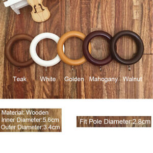 Curtain Rail Wooden Ring Pole Rod Wood Circle Hanging Loop Clothes Clip Window
