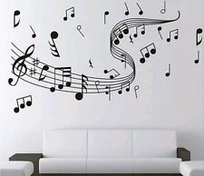Black Staff and music notes wall decal sticker home office