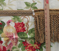 Fabric Floral Song Bird Print Cream Background Thick Twist Long Fringe Trim