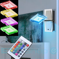 RGB LED Wall Light Dining Room Glass Chrome Lamp Remote Control DIMMER EEK A