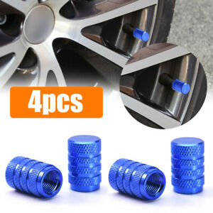 Blue Aluminium Auto Wheel Tyre Valve Stems Air Dust Cover Caps Car Accessories