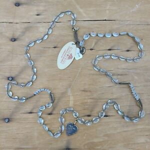 "New Love Heals 42"" Wrap Necklace Rock Crystal Quartz Heart Moon Artisan"