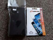 Aspecto Cuero Negro Teléfono Móvil Nokia Lumia 1320 Estuche Y Paquete De 5 protectores de pantalla