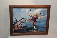 Original Morris Katz Oil Painting Scarecrow Ice Skating 1996 Framed Signed Art
