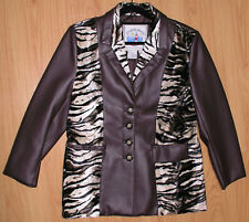 Women's Jacket Sz 8 Lined Atlantic Beach Blazer Coat Pleather Leather Look Brown