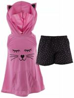 dELiA*s Girls Cat Pink Black Character Face Hooded Short Sleeveless Pajamas