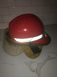 "Bullard Fire fighter Helmet RED w/ shield/chin strap size FX 6 1/2"" to 8"